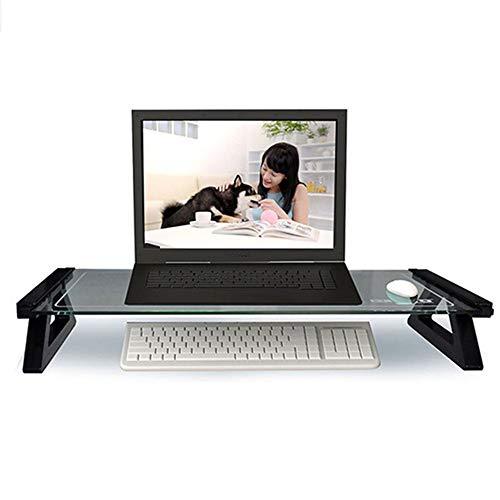 Gehärtetes Glas Monitorständer,usb Computerständer Riser,ergonomische Laptop-ständer Riser,für Home Büro Tastaturspeicher Multi-medien Laptop-drucker Usb Schwarz Gehärtetes Glas 57x21x9cm(22x8x4inch)