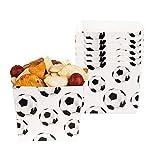 Boland 62510 - Snack-Schüssel Fußball, 6 Stück, Größe 12 x 10 x 10 cm, schwarz-weiß, Bundesliga, Championsleage, Geburtstag, Party