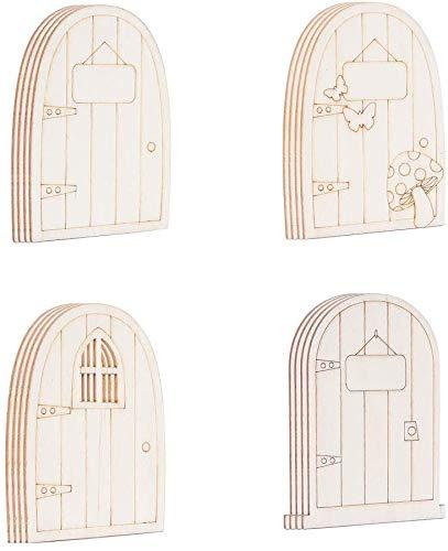 Super Idee 24 Stück Süße Wichteltüren Nissedor aus Holz für Kindergeburtstag Kita zum Basteln und Gestalten Kleine Elfentüren Elfen Adventskalender Verzierungen für Weihnachten