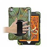 GHC Pad Fundas & Covers para iPad Mi-Ni 4 5, 2019, Cubierta de Silicona 360 Rotating a Prueba de Golpes a Prueba de Golpes con Tapa para niños para iPad MI-NI 4 5 (Color : Army Green)