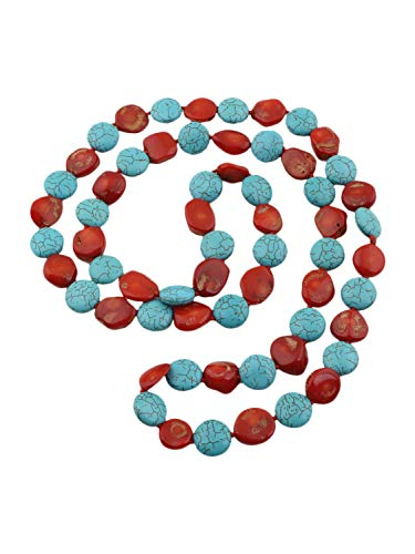 TreasureBay Unique 11mm Natural Turquoise and Red Coral Necklace for Women