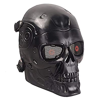 A&N Airsoft Full Face Terminator Skeleton Skull Mask Metal Eye Mesh Protection Black/Party Dress Up Costume Halloween Movie Prop