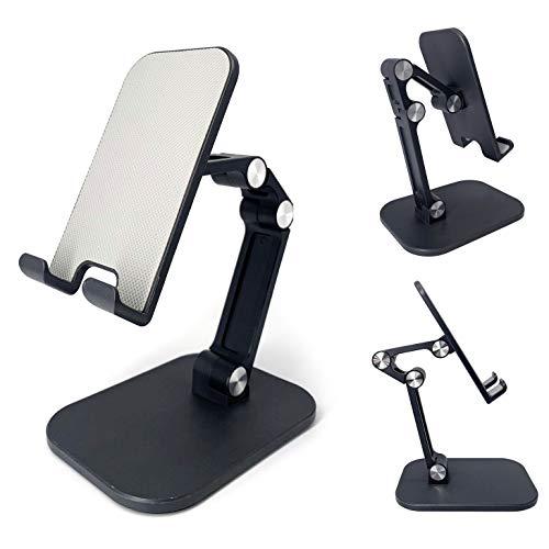 KNOK Soporte para teléfono móvil, soporte de mesa, ajustable, para escritorio, soporte universal para teléfono móvil, smartphone, tablet, móvil, color negro