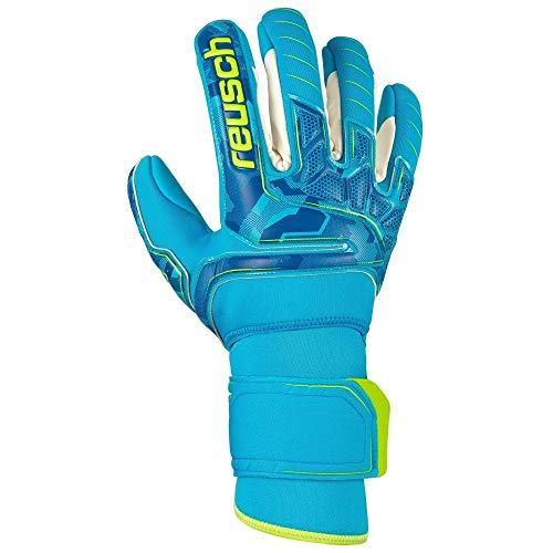 Reusch Erwachsene Attrakt Pro AX2 Evolution NC Ortho-Tec Torwarthandschuhe, Aqua Blue/Bright Green/Aqua Blue, 10