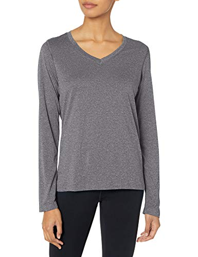 Hanes Women's Sport Cool Dri Performance Long Sleeve V-Neck Tee, Black Heather, Large