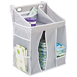 mDesign Baby Nursery Hanging Storage Organizer Caddy and Diaper Stacker for Baby Essentials, Hang on Crib, Changing Table or Wall – Multiple Pockets to Store Wipes, Creams, Lotions,Toys – Gray