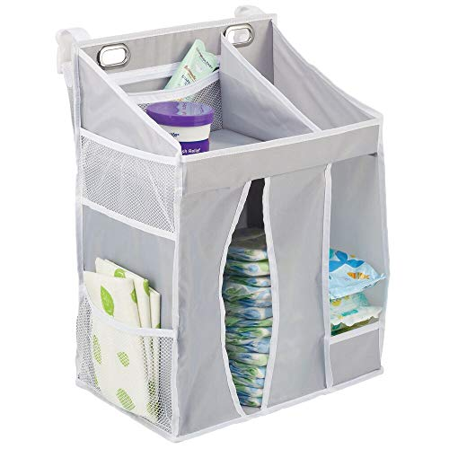 mDesign Baby Nursery Hanging Storage Organizer Caddy and Diaper Stacker for Baby Essentials, Hang on Crib, Changing Table or Wall - Multiple Pockets to Store Wipes, Creams, Lotions,Toys - Gray