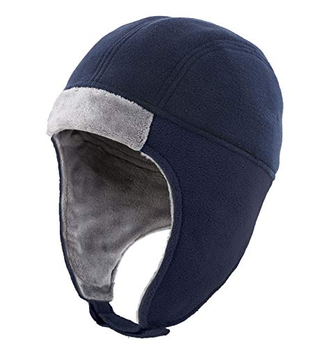 Connectyle Mens Fleece Thermal Skull Cap Beanie with Ear Flaps Winter Hats (All Navy)