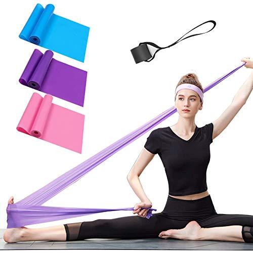 Bandas Elasticas Fitness Set de 3 Resistencias Látex Banda de Ejercicios Yoga Pilates Bands para Fisioterapia Rehabilitación, Crossfit, Mujer y Hombre en el Hogar Entrenamiento de Fuerza