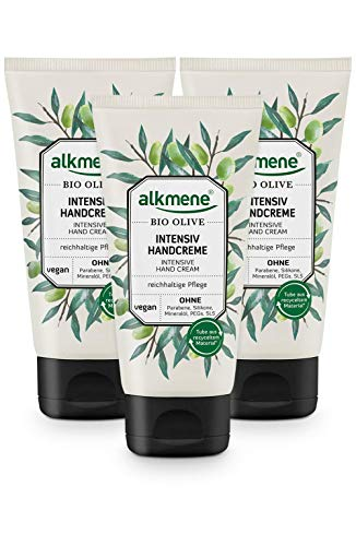 alkmene Handcreme mit Bio Olive - Intensiv Creme für sehr trockene Hände - vegane Olivenöl Intensivcreme ohne Silikone, Parabene, Mineralöl, PEGs, SLS & SLES - Hautpflege im 3er Pack (3x 75 ml)