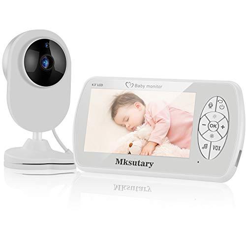 Caméra Vigilancia Bébé 4.3 '',Vigilabebés Inalambrico con Cámara,Vidéo 1080P,Camara Bebes Vigilancia,LCD,Vision Nocturne,Capteur de Température et VOX,Audio Bidirectionnel,Berceuses