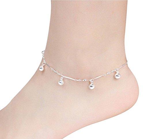 N-brand PULABO Fußkette in verschiedenen Small Bells Small Bells Fußkette für Frauen mit Kette Fashion Style Beach Silver Robust und kostengünstig Beliebt