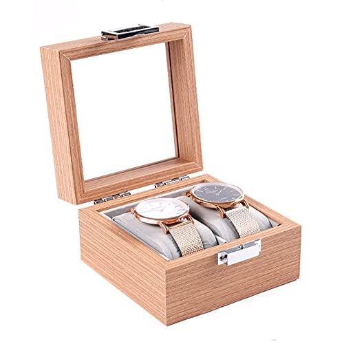 Caja organizadora de reloj de grano de madera con caja de reloj de 2 ranuras para hombres para almacenamiento en el hogar, viajes, exhibición
