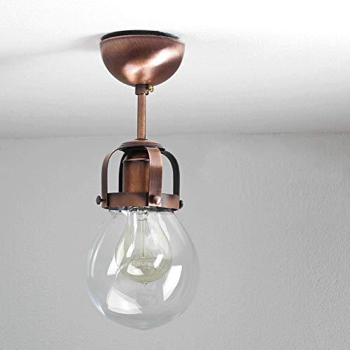 Licht-belevenissen F/LU/171110/515555 gevormde plafondlamp Vintage Design Industrie 1x E27 tot 60 Watt 230 V van glas & metaal gang keuken binnen