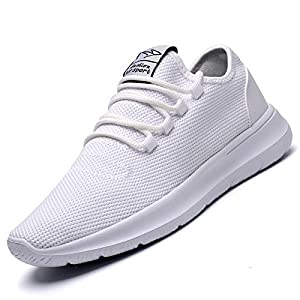 KEEZMZ Men's Running Shoes Fashion Breathable Sneakers Mesh Soft Sole Casual Athletic Lightweight (8.5, White)