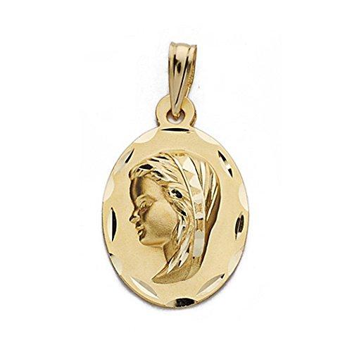 Medalla Oro 18K Virgen Nina 22mm. Biselada Oval [9087Gr] - Personalizable - Grabación Incluida En El Precio