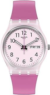 Swatch Gent Standard Quartz bio-sourced Material Strap, Pink, 16 Casual Watch (Model: GE724)