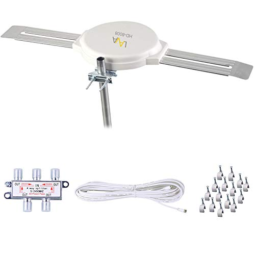 LAVA Outdoor TV Antenna Omnidirectional 360 Degree HD TV 4K Omnipro Amplified TV Antenna OmniPro HD-8008 + Installation Kit HD-8008