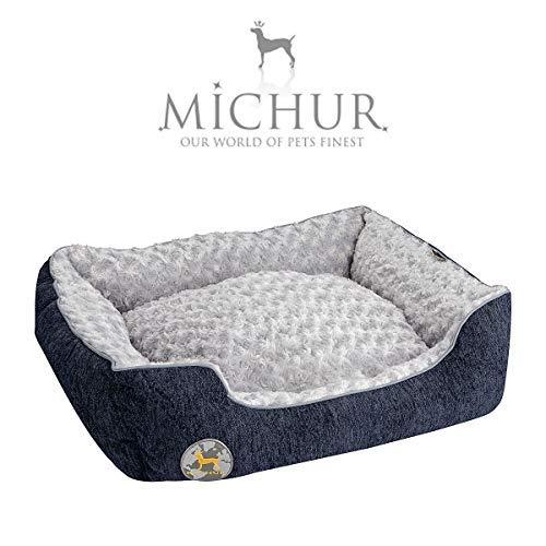 Michur Hundebett Dirk, waschbares Tier Sofa für Katzen und Hunde in edlem blau, mit beidseitig anwendbarem Kissen, Hundekörbchen, Hundesofa, Hundekissen, Hundekorb, 65 cm x 55 cm x 18 cm