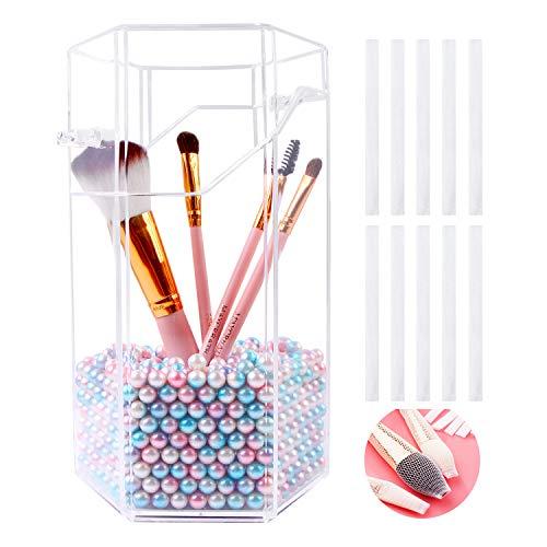 MeijieM Organizador de Brochas de Maquillaje, Transparente Soporte Organizar de Pinceles de Maquillaje con Perlas, para Almacenaje Decoracion Regalo