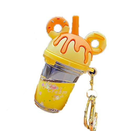 JKDFGJ Lindo perla leche taza de té llavero arenas movedizas botella llavero colgante accesorios creativo coche llavero regalo