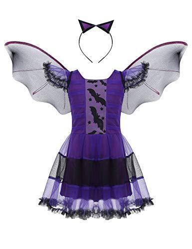MSemis Disfraz Bruja para Niñas Vestido Vampiresa Diablesa, Alas Murciélago y Tocado 3Pcs Traje Halloween Navidad Cosplay Bat Girl Regalo Cumpleaños