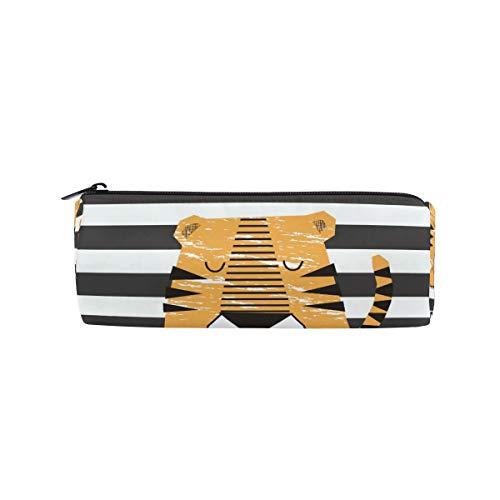 Little Tiger - Estuche escolar para lápices con diseño de rayas, color marrón y blanco