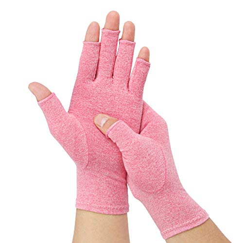 1 Pair Arthritis Compression Gloves for Alleviate Rheumatoid Osteoarthritis, Carpal Tunnel Raynauds Disease, Ease Muscle Tensi on Fingerless, Breathable & Moisture, Women and Men (Pink, Large)