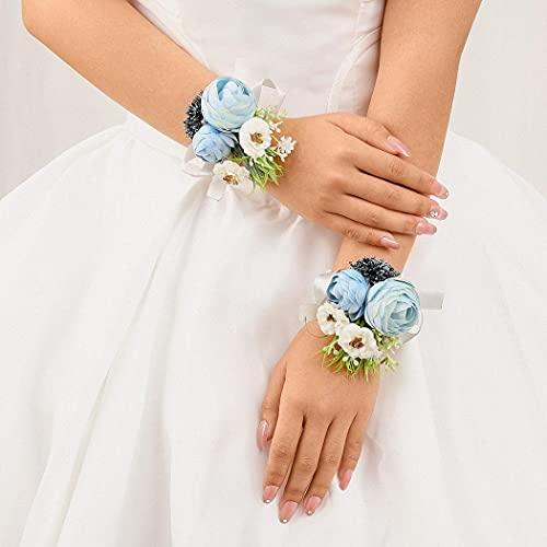 IYOU Azul Nupcial Muñeca Flor Sale de Novia Muñeca Cuerpo Ceremonia Paseo Boda Pulsera Mano Flor Decoración por Novia y Dama de Honor (2 piezas)