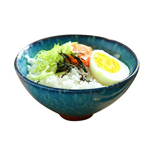 ZXL keramische rijstkom, huishouden, kleine rijst, schaal, oven, glazuur, groenteschaal, sla, porselein, kom, kom, kom, retro servies, 12 x 6 cm, huishoudkom (kleur: # 4)