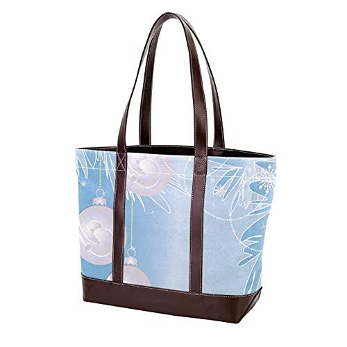 NaiiaN Leichte Riemen Handtaschen Geldbörse Einkaufen Frohe Weihnachten Blau Badminton Ball Schöne Einkaufstasche für Mutter Frauen Mädchen Damen Student Umhängetaschen