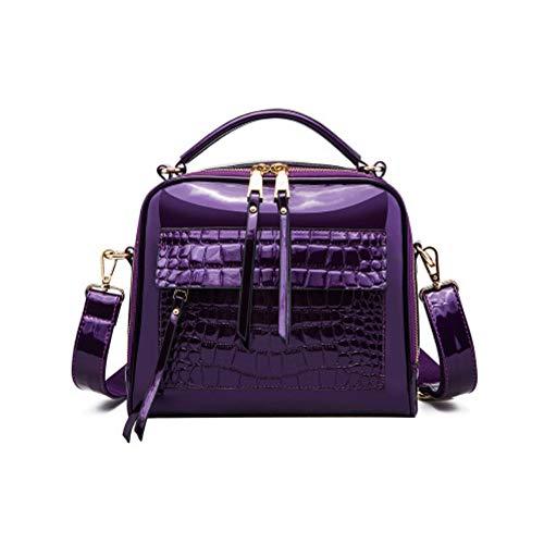 Mzdpp Chance Love NewMode Krokodil Muster Lackleder Handtasche Helle Tasche Kleine Partei Paket Trend Luxus Paket Glänzende Tasche Lila
