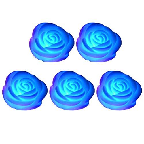 Uonlytech 5 stücke flammenlose Kerze Blume nachtlicht led teelichter wasserdicht schwimmende Rose für Pool Garten Aquarium Hochzeit dekor blau