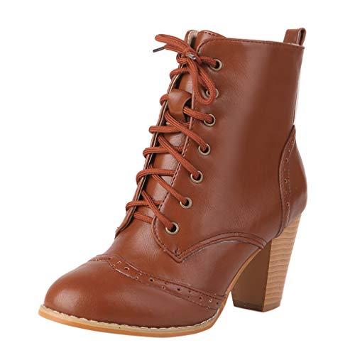 Stiefel Damen Blockabsatz Ösen Schnürsenkel Stiefeletten Runder Zeh Kurzschaft Schnürstiefel Einfarbiges Schuhe Damenschuhe (39 EU, Gelb)