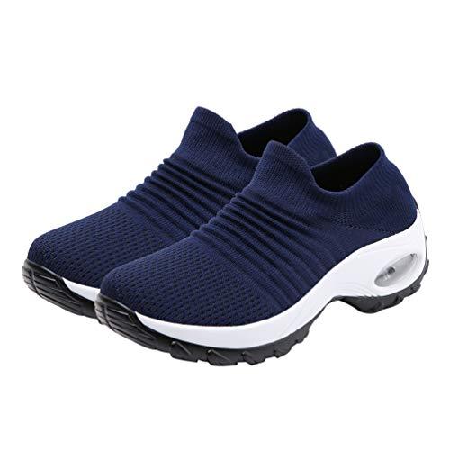 Happyyami Breathe Mesh Walking Shoes Women Knit Running Sneakers Slip on Air Cushion Gym Loafers Shoes Footwear Dark Blue 7.5US