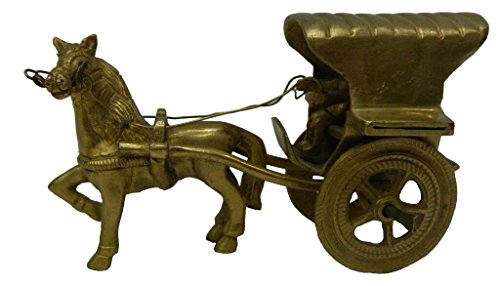 Hecho a mano Metal y latón caballo carro medio en tamaño por vyomshoptm