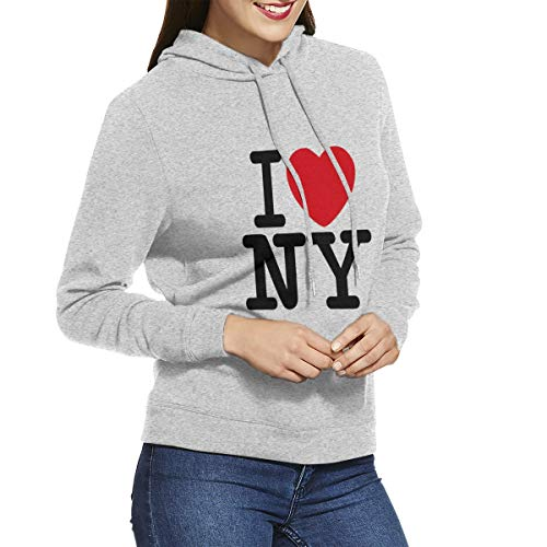 I Love NY New York Women's Long Sleeve Pullover Sweatshirt Hoodie Gray XXL
