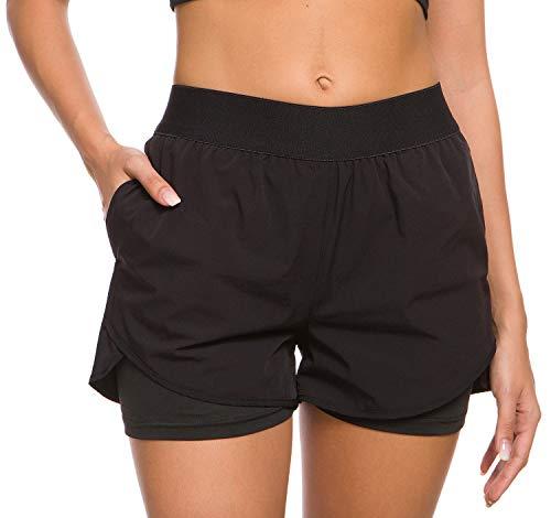 Custer's Night Women's Running Short Workout Athletic Jogging Shorts 2-in-1 Black XL