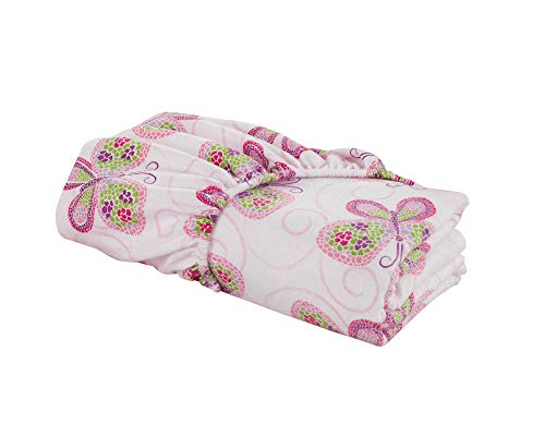 DELANNA Flannel Fitted Sheet 100% Brushed Cotton All Around Elastic 1 Fitted Sheet 39'x75' (Twin, Butterfly)