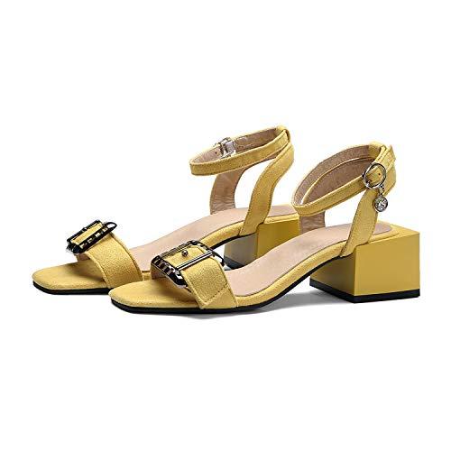 Xjizm High Heels Sandals Women Cross Strappy Sandals Lady Summer Shoes Woman Instagram Open Toe Flock Black Sandals 4Season Yellow 10.5