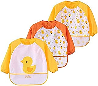 Toddler Baby Waterproof Apron Sleeved Bib, Bib with Sleeves&Pocket, 6-36 Months ,Set of 3 Soft material Cute Animals Paint...