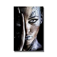 (アートワーク)黒のクールな女性のキャンバスの絵画現代アフリカのポスターとプリント壁のアート写真リビングルームの家の装飾(50x70cm)フレームなし