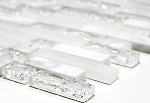 Mosaik-Netzwerk Verbund Crystal/Stein mix weiss Glasmosaik Transluzent Transparent 3D, Mosaikstein Format: 15x23/48/73x8 mm, Bogengröße: 60 x 100 mm, 1 Handmuster ca. 6x10 cm