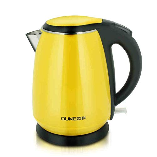 XUEQIN Bouilloire électrique jaune 304 Chaudière automatique de mise à la terre de qualité alimentaire en acier inoxydable 1.2L 1500W