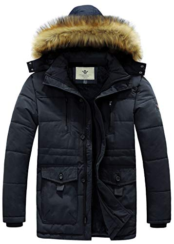 WenVen Men's Hooded Warm Coat Winter Parka Jacket(Navy,Large)