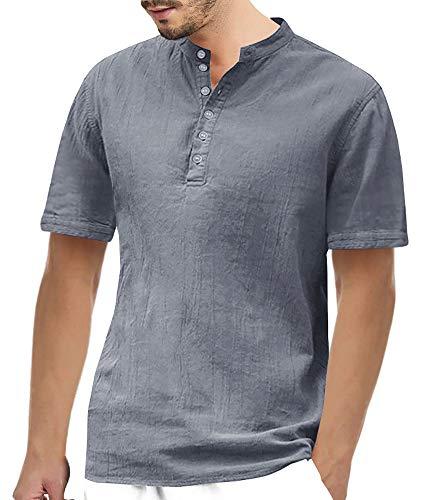 Gemijacka Herren Leinenhemd Henley Freizeithemd 3/4 Ärmellänge & Kurzarm Regular Fit Kragenloses Shirt, Grau, XL