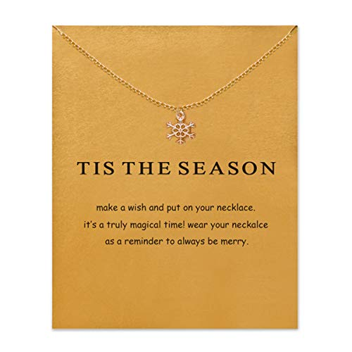 VIIRY Friendship Snowflake Clavicle Necklace with Blessing Card,Small Dainty Gold Pendant Necklace for Women Gift Card