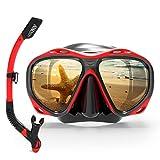 MHSHKS Máscara De Buceo Gafas De Snorkel Equipo De Máscara De Snorkel Profesional Gafas Gafas Buceo Natación Juego De Tubo De Respiración Fácil para Adultos (Color : Red)