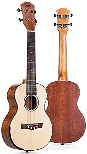 JIAQ Ukelele de madera de abeto natural de 66 cm para ukelele electro de 4 cuerdas (color: natural, tamaño: 66 cm) (color: natural, tamaño: 66 cm)