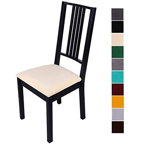 Homaxy Stuhlbezug Sitzfläche Samt Weich Sitzbezug Stuhl Stretch-sitzbezüge für Esszimmerstühle Abwaschbar Schonbezug Hussen für Stühle- 4er Set, Beige
